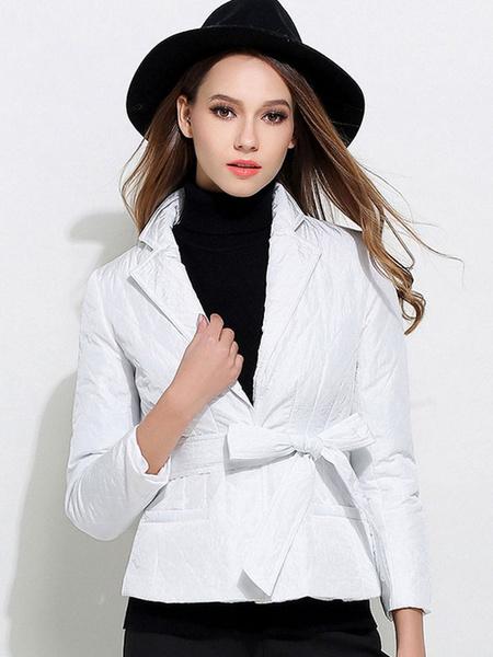 White Belted Coat Short Turndown Collar Hook And Eye Winter Coat For Women