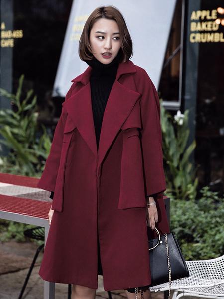 Plus Size Coat Women's Turndown Collar Pocket 3/4 Sleeve Casual Winter Coat