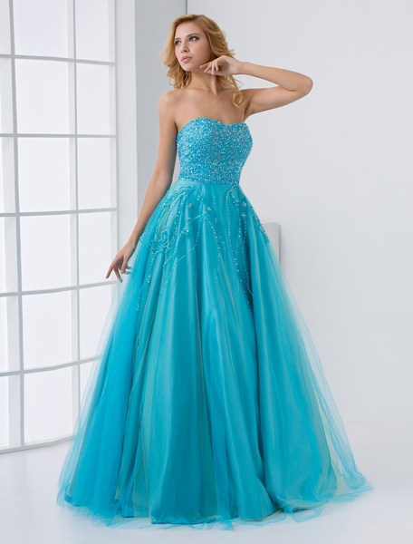 Sequin Wedding Dress Aqua Strapless Sweetheart Bridal Dress Lace Beading Floor Length Prom Dress