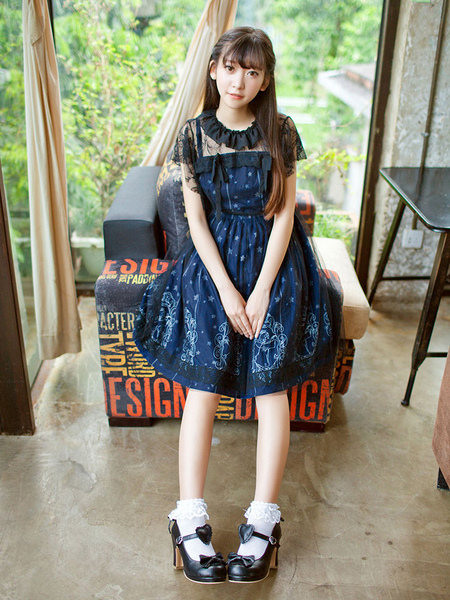 Sweet Lolita Dress Harajuku Starry Night Angel Printed OP Lolita One Piece Dress