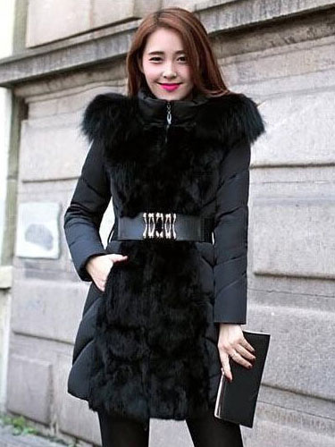 Hooded Winter Coat Women's Slim Fit Faux Fur Quilted Coat With Belt