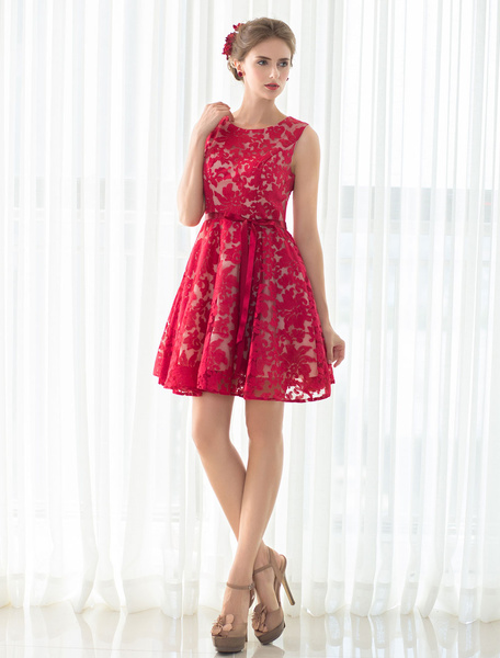 Lace Cocktail Dress Red Short Prom Dress A-line Sleeveless Homecoming Dress