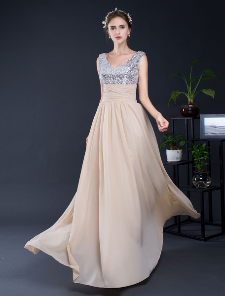 Sequin Prom Dress Backless A-line Chiffon Floor-length Homecoming Dress