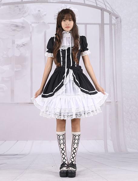 Milanoo coupon: Cotton Black White Long Sleeves Classic School Lolita Dress