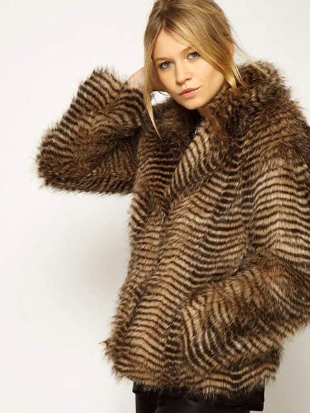 Faux Fur Coat Animal Print Long Sleeve Turndown Collar Women's Plus Size Winter Coat With Pockets