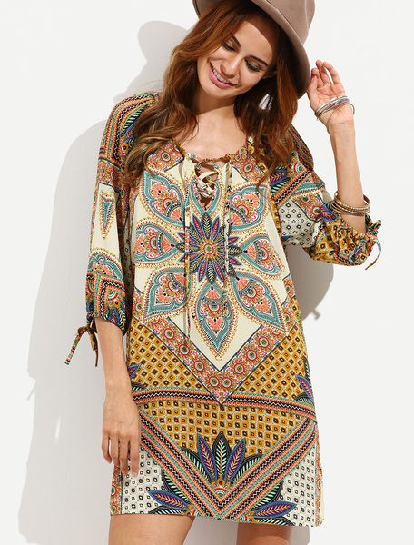 Boho Cover Up Printed Women's 3/4 Sleeve Lace Up Swim Beach Dress