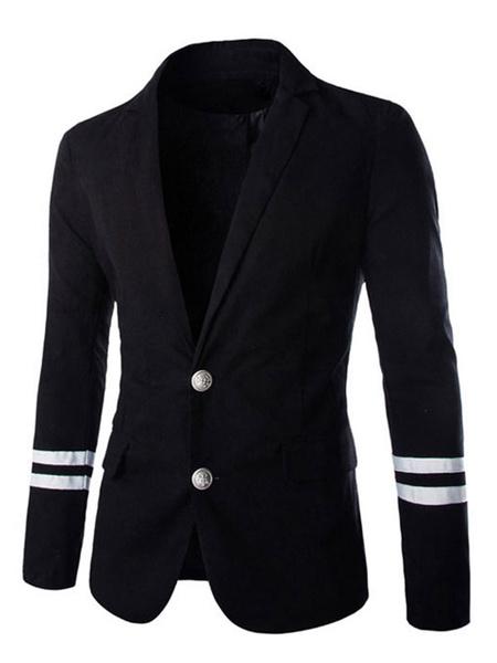 Black Blazer Jacket Men's Turndown Collar Long Sleeve Front Button Winter Blazer