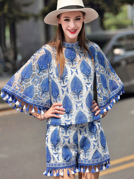 Blue 2 Piece Outfits Women's Round Neck Printed Fringe Half Sleeve Semi-Sheer Top With Shorts
