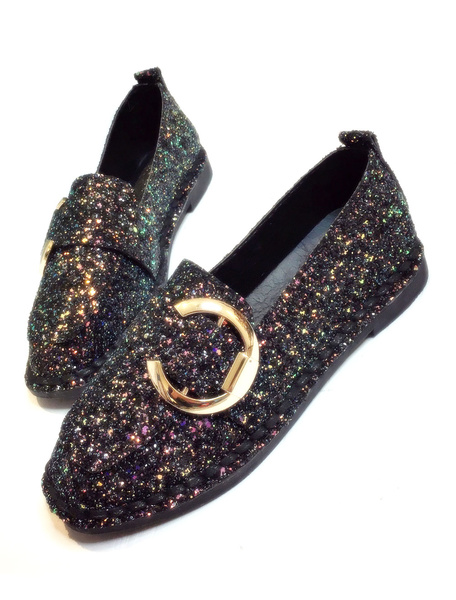 Black Loafer Shoes Women's Sequined Cloth Pointed Toe Grommet Decor Slip On Casual Flats