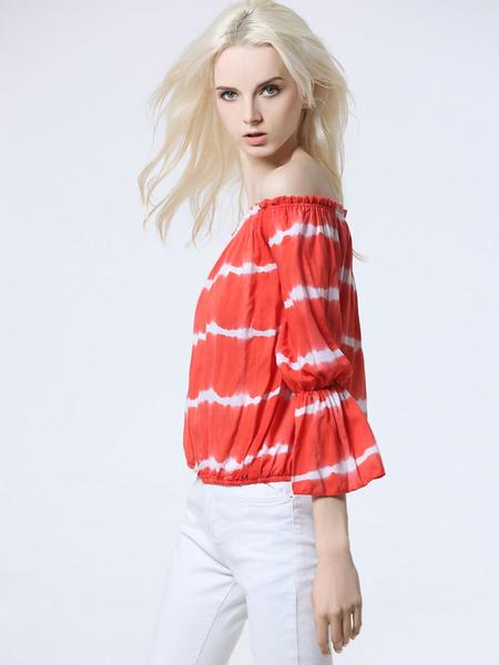 Women's Orange Blouse Off The Shoulder 3/4 Length Flared Sleeve Striped Elastic Blouse