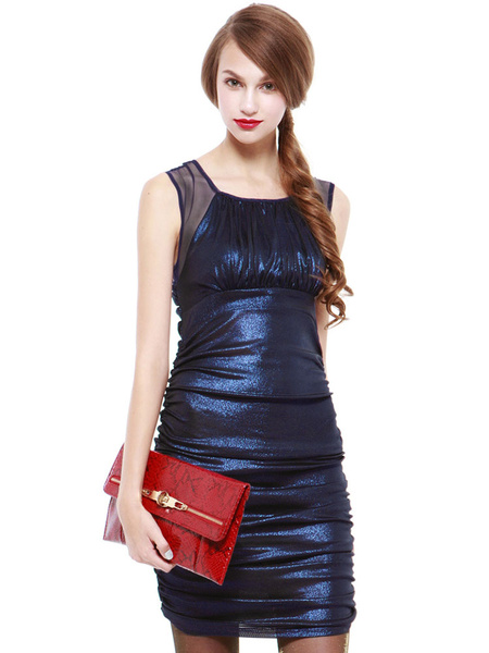 Blue Club Dress Women's Round Neck Sleeveless Pleated Semi Sheer Ruched Bodycon Dress