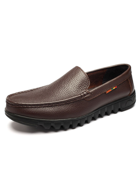 Men's Loafer Shoes Leather Round Toe Slip On Breathable Casual Flats