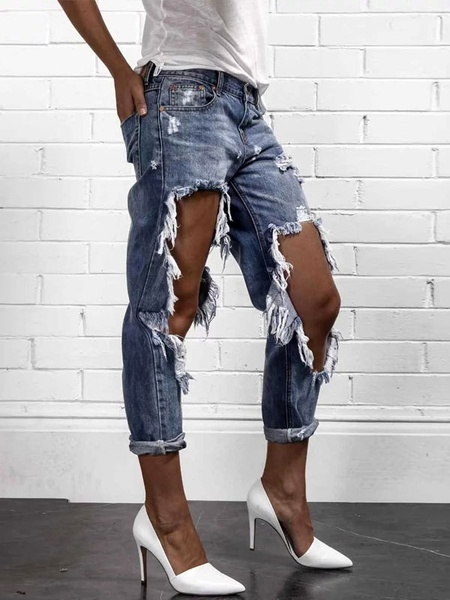 Blue Ripped Jeans Women's Zipper Fly Straight Leg Denim Jeans