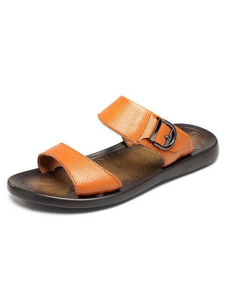 Brown Flat Slippers Men's Cowhide Open Toe Sandal Slippers
