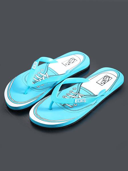 Men's Flip Flops Ocean Blue PU Printed Split Sole Beach Slippers