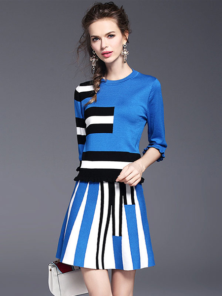 Women's Skirt Set Round Neck Half Sleeve Color Block Ruffles Top With Stripes A Line Skirt
