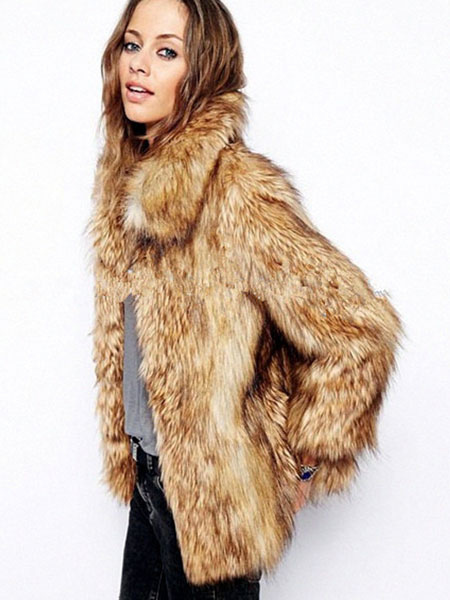 Yellow Faux Fur Coat Turndown Collar Long Sleeve Slim Fit Short Coat