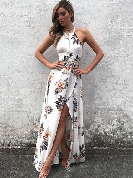 White Maxi Dress Halter Sleeveless Backless Floral Printed Slit Maxi Dress For Women