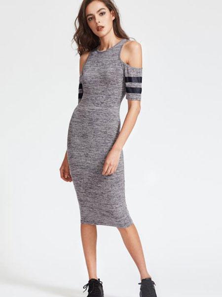 Grey Bodycon Dress Women's Round Neck Short Sleeve Cold Shoulder Striped Contrast Wrap Dress