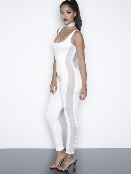 Women's White Jumpsuit U Neck Sleeveless Patchwork Semi Sheer Skinny Wrap Jumpsuit