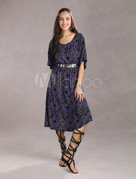 Unique Purple 70% Cotton 30% Spandex Womens Dress