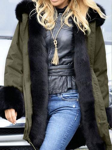 Hooded Winter Coat Women's Hunter Green Long Sleeve High Low Drawstring Parkas Coat