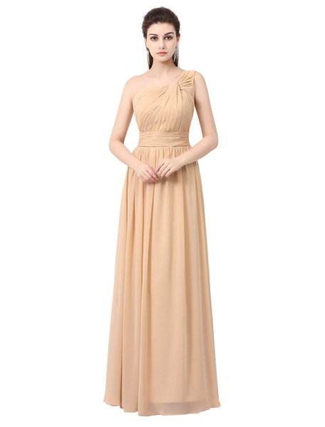 Chiffon Bridesmaid Dress Long Prom Dress Champagne One Shoulder Knotted A Line Maxi Party Dress