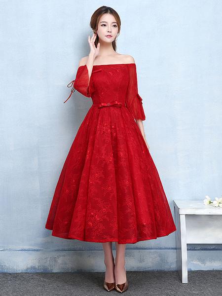 Red Prom Dresses 2017 Short Off The Shoulder Prom Dress Lace Burgundy Bell Sleeve A Line Tea Length