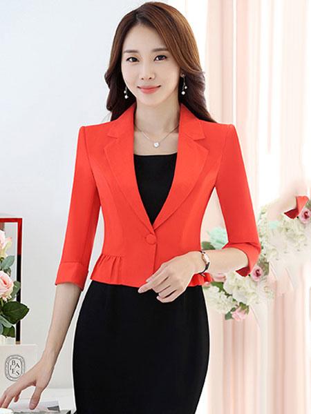 Sexy Women's Blazer Turndown Collar Three Quarter Sleeve Cropped Ruffle Fitted Blazer Jacket