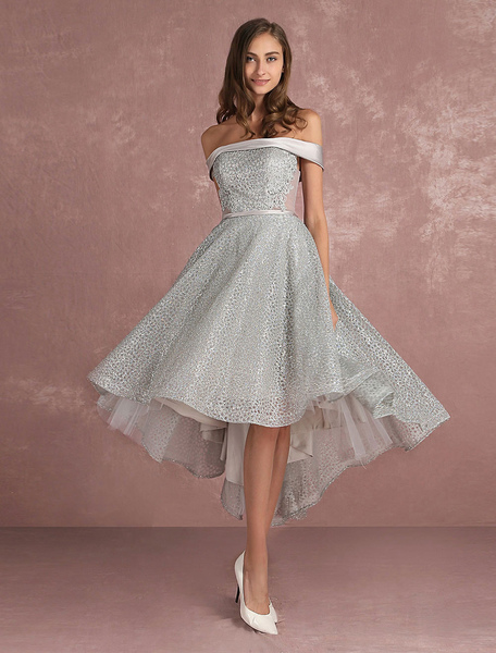Sequined Prom Dress Grey Asymmetrical Cocktail Dress Off The Shoulder Sleeveless A Line Party Dress