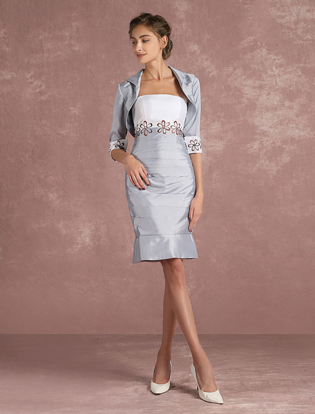 Mother Of The Bride Dress Silver Taffeta Sheath Cocktail Dress 2 Piece Embroidered Short Party Dress