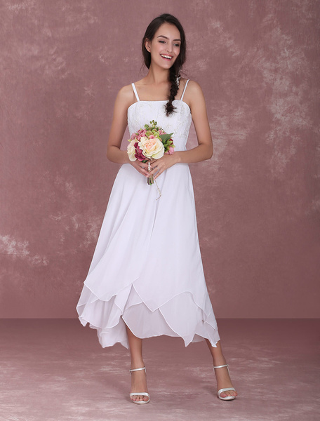 Milanoo coupon: White Wedding Gown Straps Embroidered Tiered Ruffles Wedding Dress