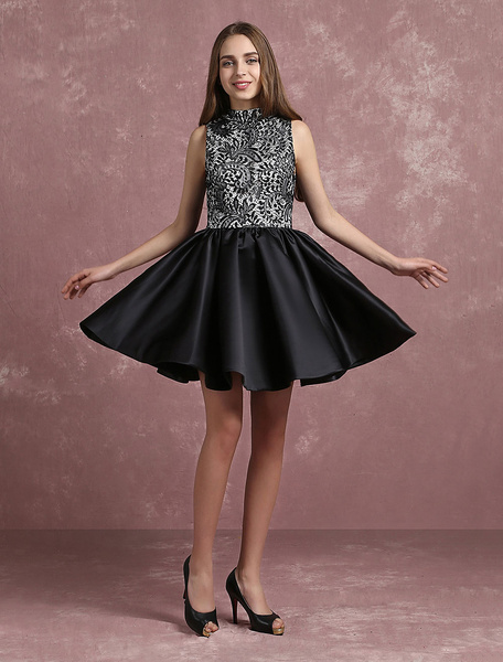 Black Cocktail Dress Satin High Collar Prom Dress Lace Sleeveless Pleated A Line Short Party Dress