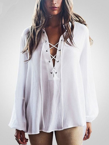White Chiffon Swimwear Women's Lace Up High Low Long Sleeve Beach Cover Up