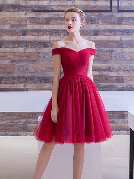 Tulle Prom Dress Burgundy Cocktail Dress Off The Shoulder A Line Ruched Knee Length Homecoming Dress