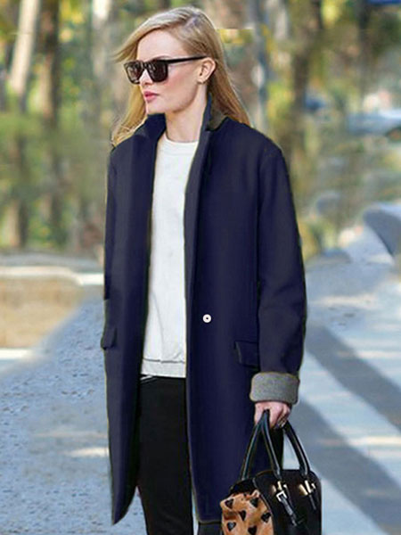 Women's Winter Coat Dark Navy Long Sleeve Two Tone Wool Coat