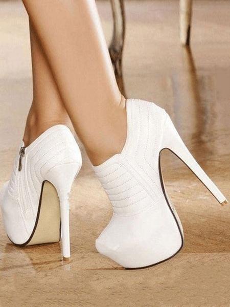 Milanoo White Short Booties Platform Almond Buckle Detail High Heel Booties For Women