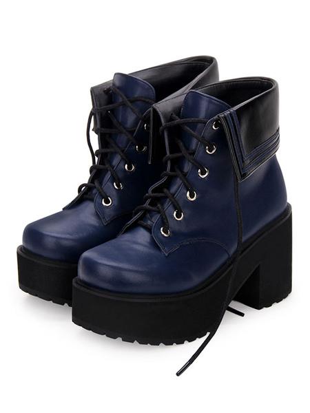 Milanoo Classic Lolita Boots Lace Up Two Tone Round Toe Platform Lolita Footwear