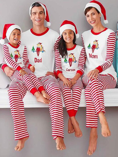 Image of Pigiama natalizio da donna in famiglia Pantaloni bianchi con pigiama mattutino a righe stampato superiore