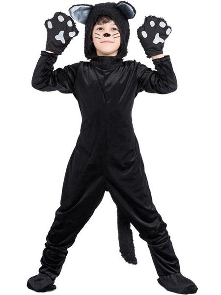 Image of Carnevale Pigiami per bambini Tutina di velluto Costume da Halloween Cats Kid Gatti Kigurumi Gatti Halloween