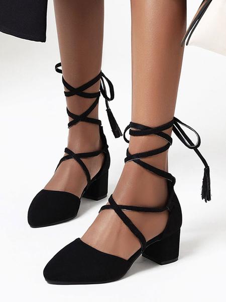 Mid-Low Heels Block Heel Lace