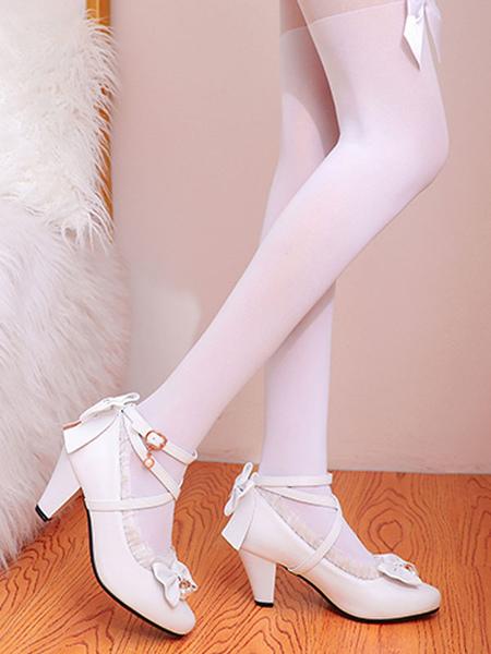 Milanoo Sweet Lolita Footwear Pink RufflesBows Leather Prism Heel Lolita Shoes