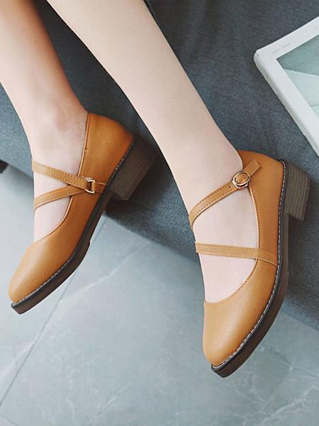 Milanoo Lolita Footwear Round Toe Leather Strappy Lolita Pumps