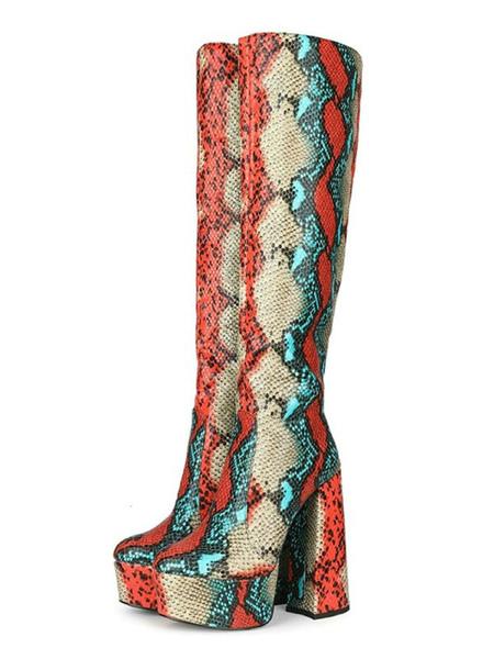Image of Stivali al ginocchio Punta tonda rossa Stivali tacco grosso in pelle di serpente tacco grosso