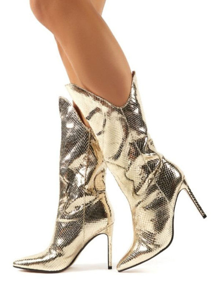 Milanoo Mid Calf Boots Light Gold Pointed Toe Boots Leather Party Boots Prom Boots