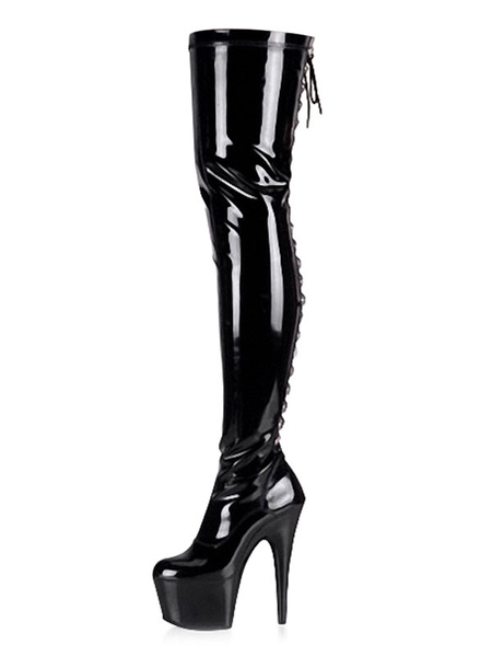 Milanoo Women Sexy Boots Black Round Toe Lace Up Stiletto Heel Thigh High Boots Over The Knee Boots