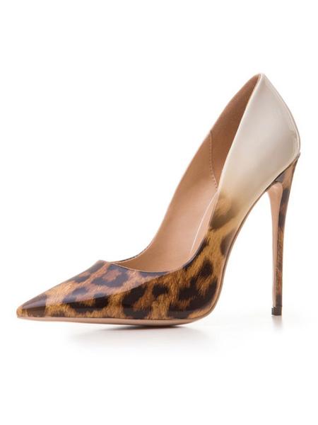 Milanoo Women High Heels Pointed Toe Leopard Print Heels Stiletto Heel Pumps