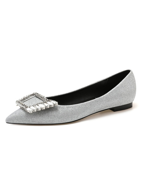 Milanoo Women\'s Sliver Ballet Flats Sequined Cloth Pointed Toe Rhinestones Flat Slip On Shoes