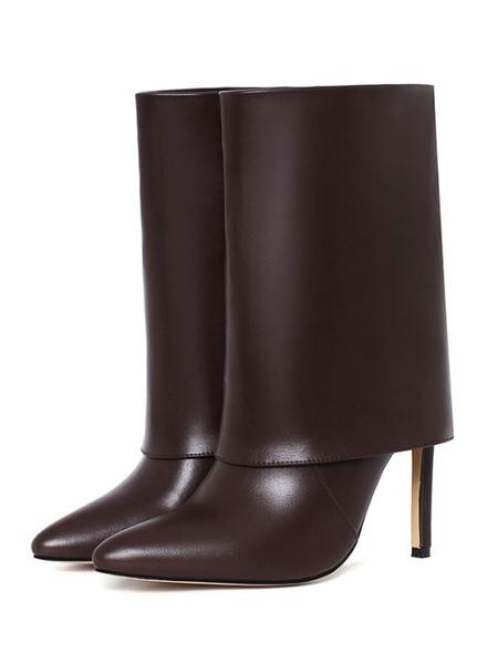 Milanoo Women\'s Mid Calf Boots Khaki Leather Pointed Toe Stiletto Mid-Calf Boots