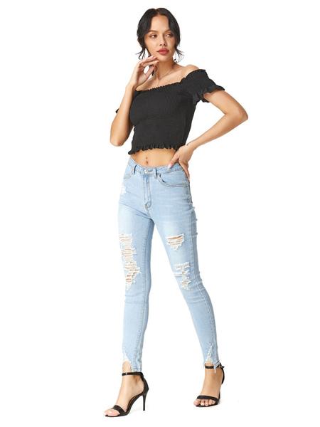 Image of Mom Jeans Donna Baby Blue Jeans Cowboy Cotton Zipper Button Vita Pantaloni skinny Jeans strappati